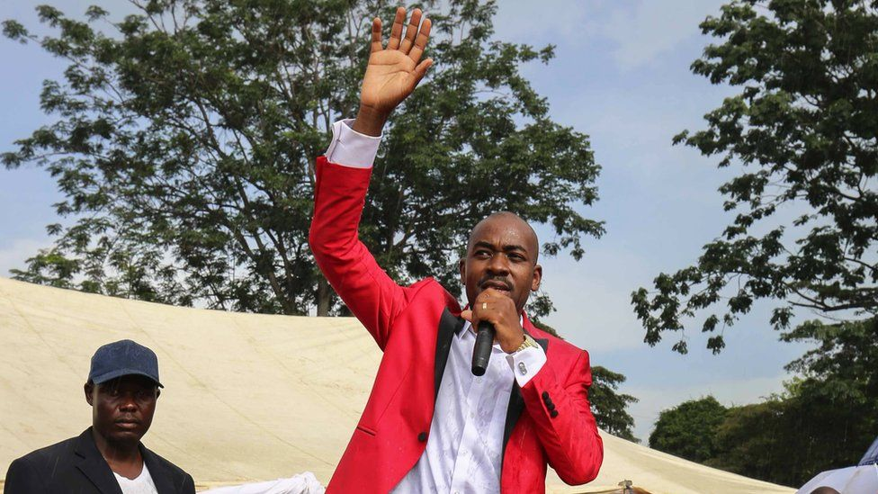 5 Movement For Democratic Change (MDC-T) new leader Nelson Chamisa (C) speaks to his supporters in Chinhoyi ,116 km west of Harare, Zimbabwe, 04 March 2018,