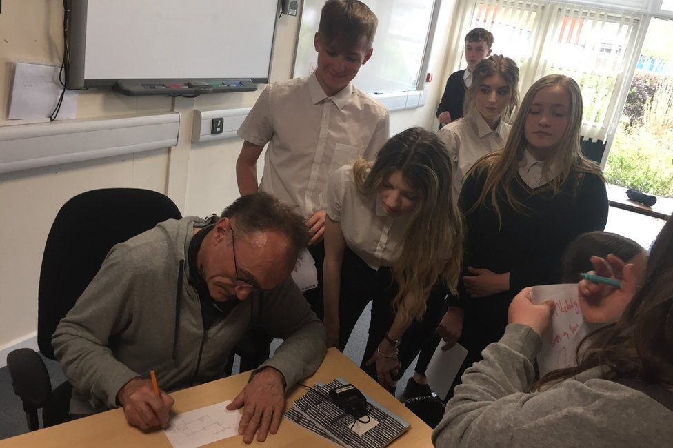 Danny Boyle and pupils of the school
