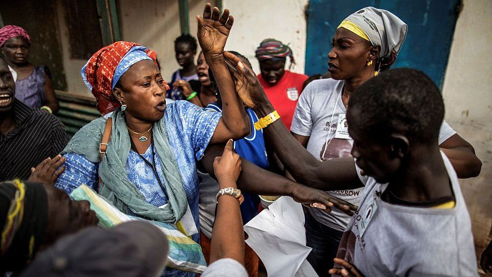 Women supporting rival candidates in Gambia's presidential election