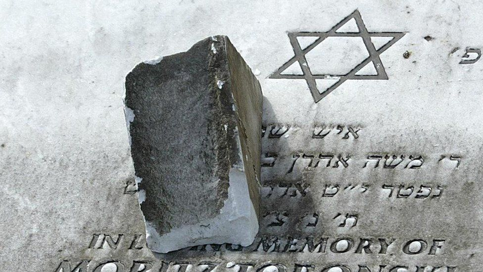 A damaged gravestone in Rainsough Jewish Cemetery in Prestwich