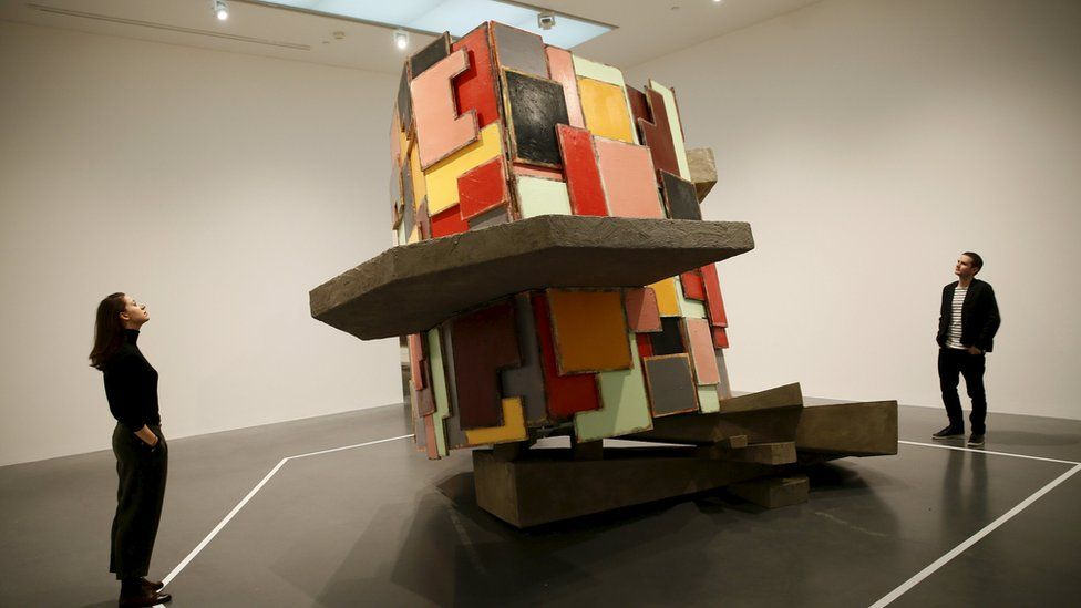 Phyllida Barlow's 'untitled: upturnedhouse' sculpture at Tate Modern in central London, Britain January 14, 2016