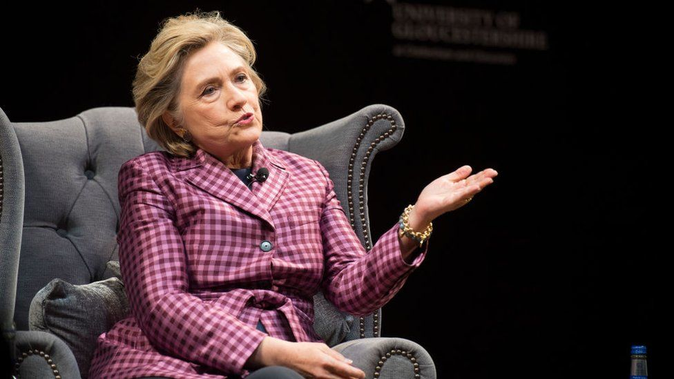 Hillary Clinton is interviewed in Cheltenham, England.