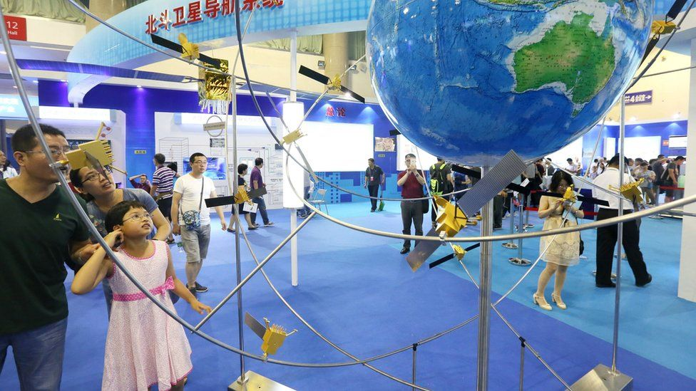 A model of the Beidou system at an exhibition in Beijing