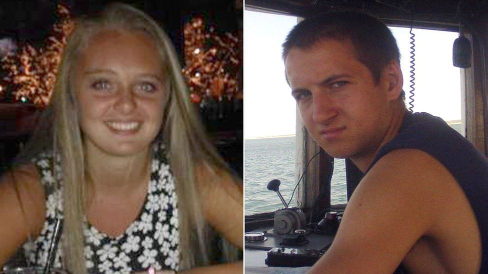 Michelle Carter (L) and Conrad Roy