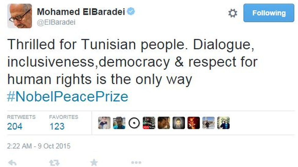 Mohamed ElBaradei tweets: Thrilled for Tunisian people. Dialogue, inclusiveness,democracy & respect for human rights is the only way #NobelPeacePrize