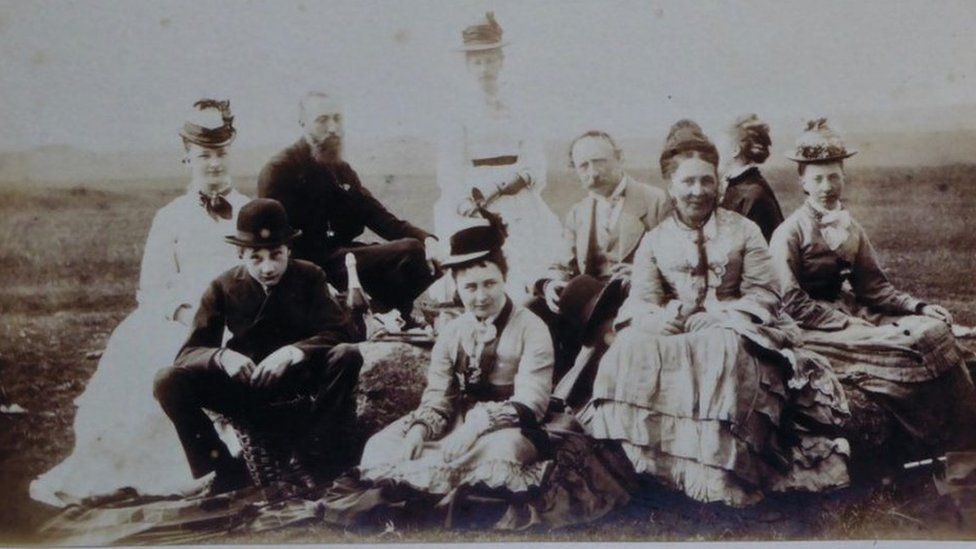 1875 Routh family photo showing the family enjoying a picnic