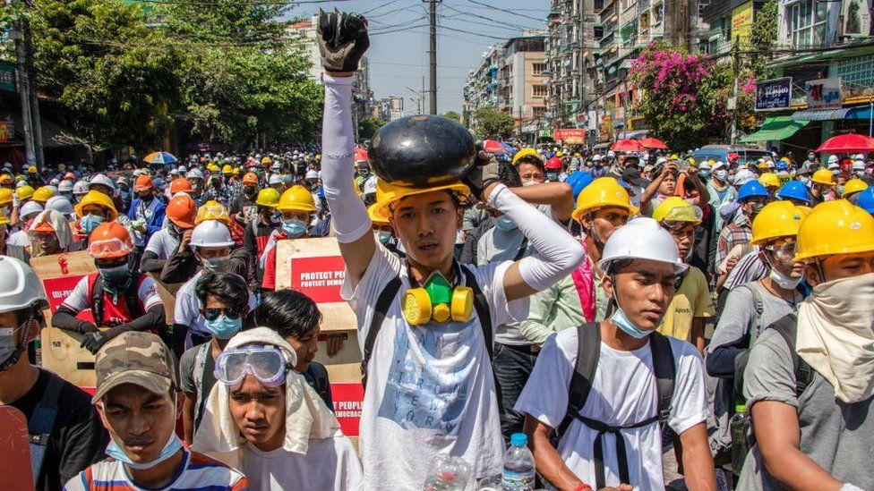 Protestors in Yangon