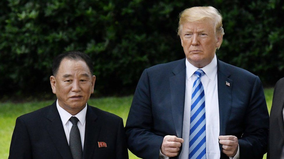 US President Donald Trump stands with Kim Yong Chol, former North Korean military intelligence chief and one of leader Kim Jong Un's closest aides, on the South Lawn of the White House on June 1, 2018 in Washington, DC.