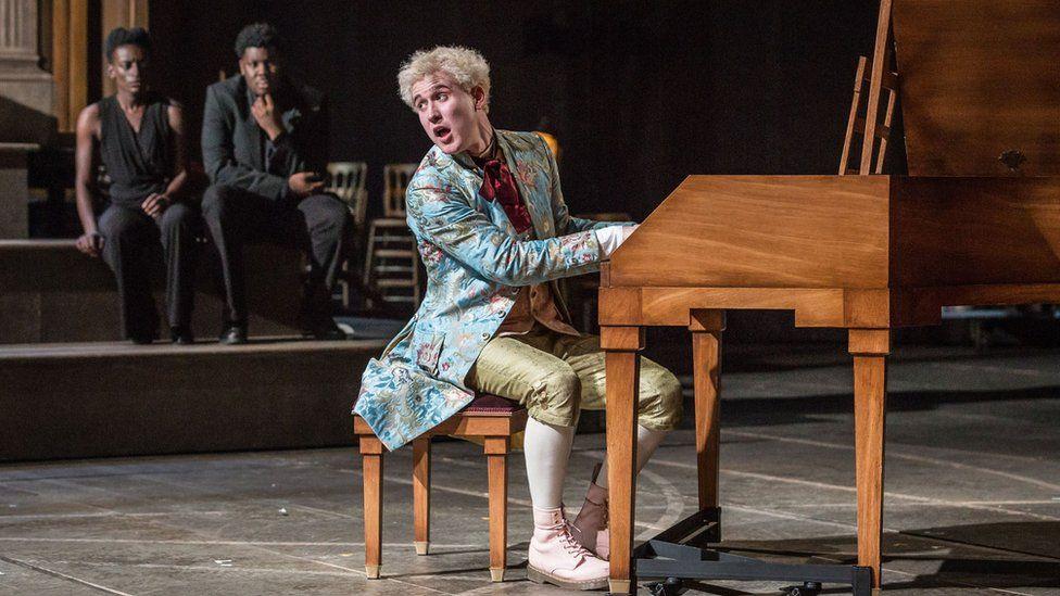 Adam Gillen with other cast members in Amadeus