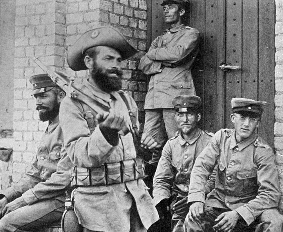 Troops in German South West Africa (now Namibia) at the time of the Herero revolt of 1904