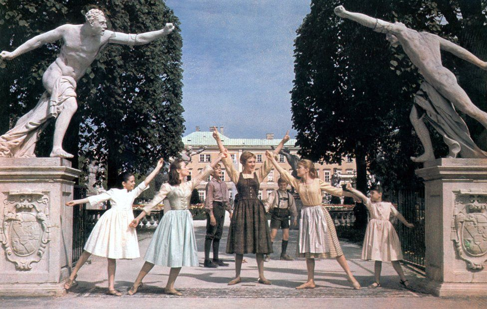 A scene from the film THE SOUND OF MUSIC (1965) - L-R (foreground) : ANGELA CARTWRIGHT as Brigitta, CHARMIAN CARR as Liesl, JULIE ANDREWS as Maria, HEATHER MENZIES as Louisa and DEBBIE TURNER as Marta.