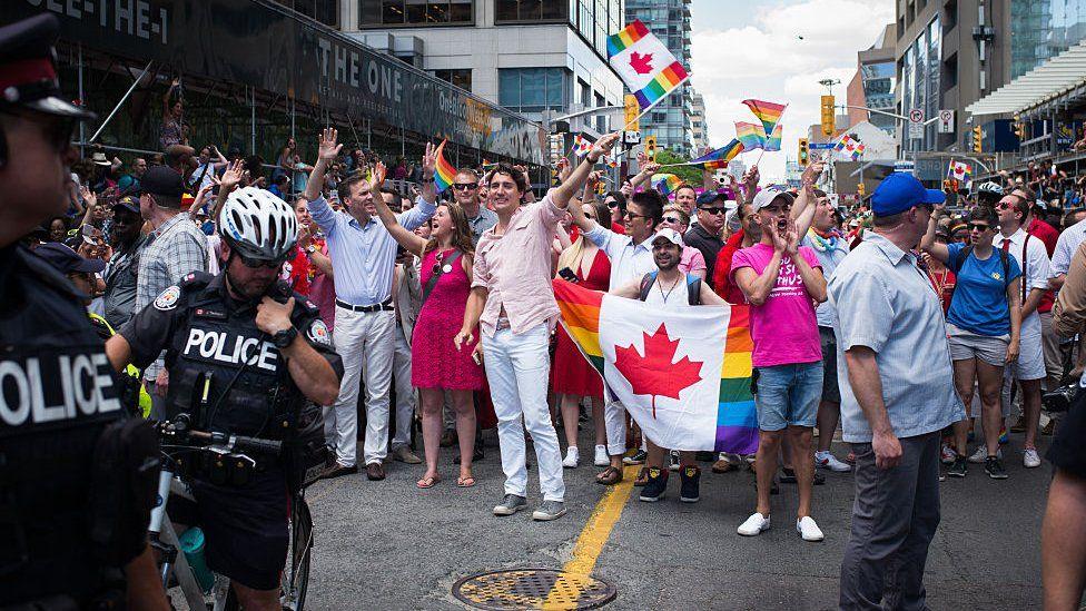 Justin Trudeau at Toronto Pride parade.