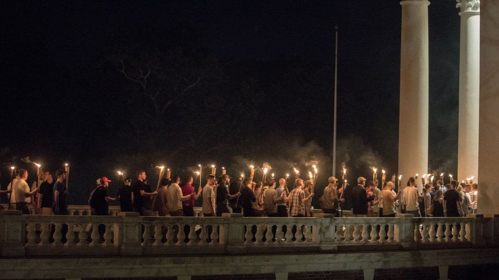 Torch march of white nationalists in Charlottesville on 11 August, 2017