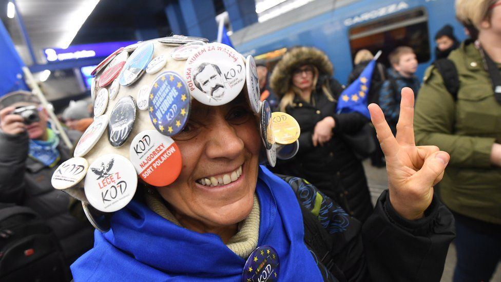 A supporter of the former Polish Prime Minister and European Council President Donald Tusk at the Central Railway Station in Warsaw, Poland, 19 April 2017