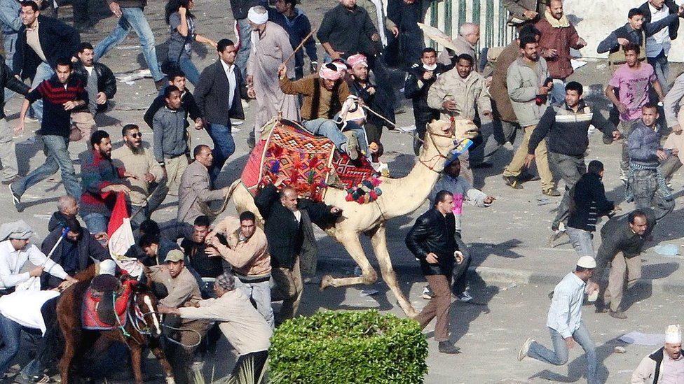Supporters of Hosni Mubarak ride a horse and a camel towards protesters in Tahrir Square, Cairo (2 February 2011)