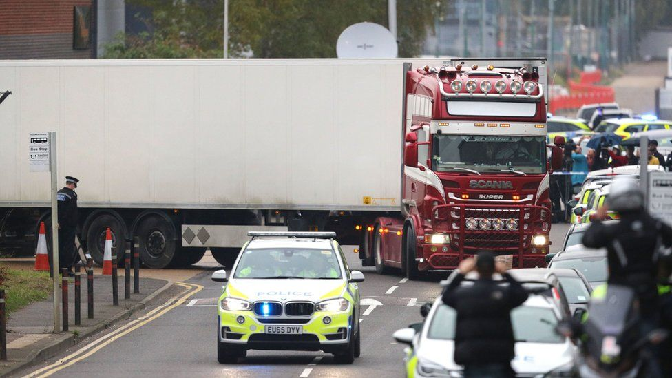 The lorry being moved
