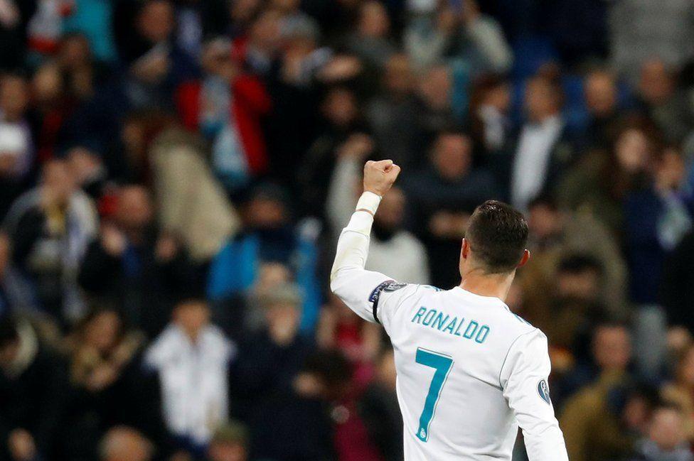 Real Madrid's Cristiano Ronaldo celebrates scoring against Borussia Dortmund in the Champions League
