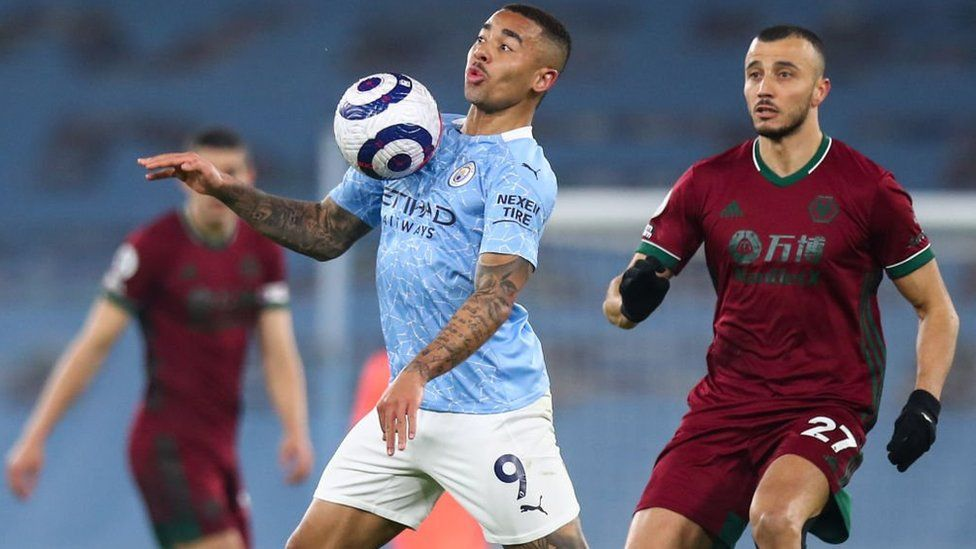 Gabriel Jesus of Manchester City during the Premier League match between Manchester City and Wolverhampton Wanderers at Etihad Stadium on March 2, 2021 in Manchester, United Kingdom.