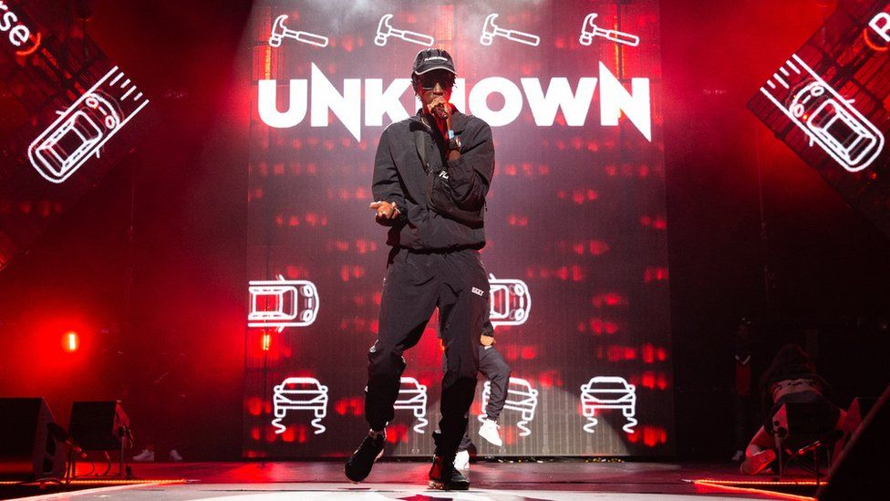 Unknown T performs during Spotify Presents at Alexandra Palace in London,