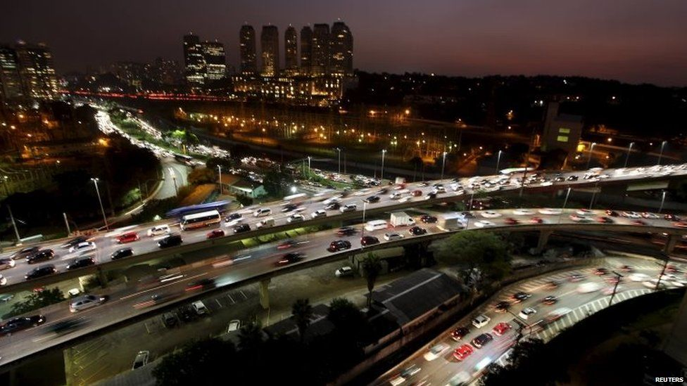 The evening rush hour traffic is seen along Bandeirantes junction in Sao Paulo on 3 June, 2015