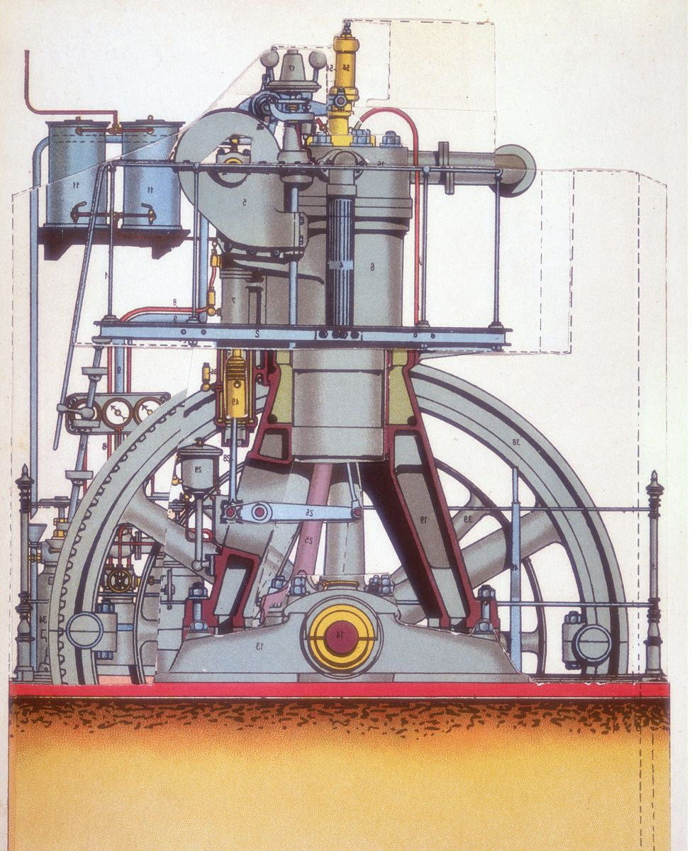 A plan drawing of the internal combustion engine invented by Rudolf Diesel in 1897