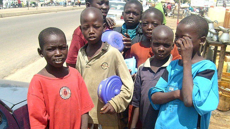 group of child beggars
