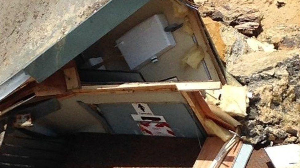 Toilets smashed in landslip