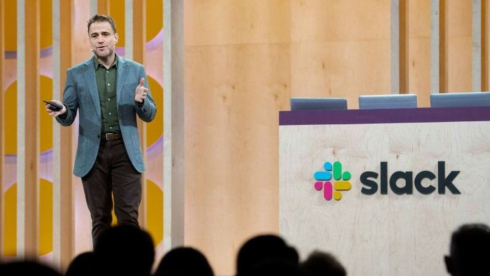 Slack chief executive Stewart Butterfield speaks a conference on April 24, 2019, in San Francisco, California