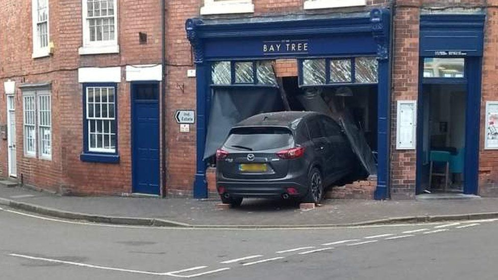 Car crashed into restaurant window