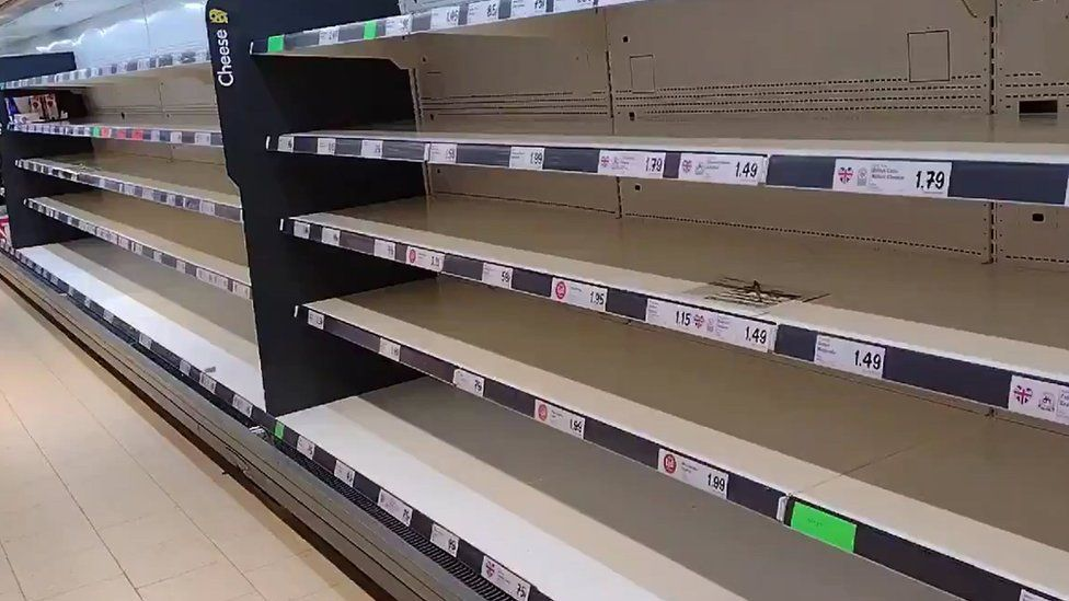 Empty shelves at a supermarket this week