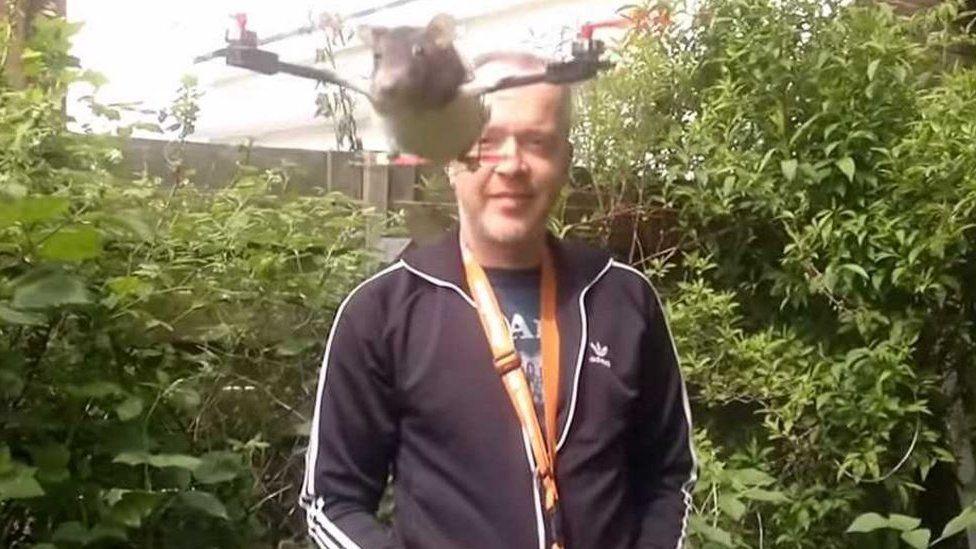Arjen Beltman and a rat on a drone