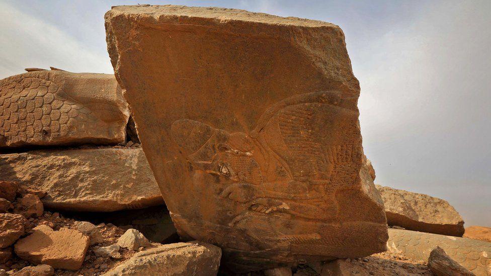 Smashed monument at Nimrud