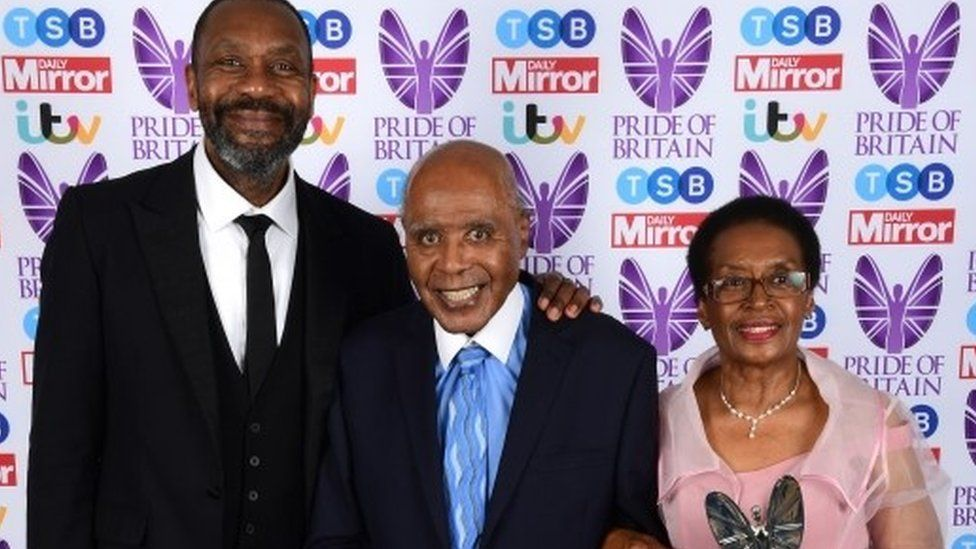Paul Stephenson receives his Lifetime Achievement award from Sir Lenny Henry