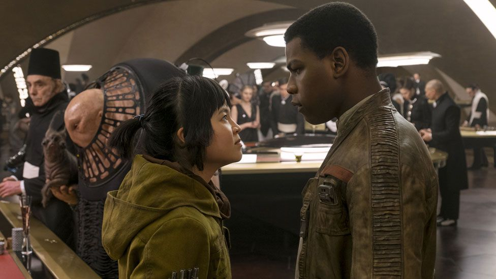 Kelly Marie Tran with John Boyega in Star Wars: The Last Jedi
