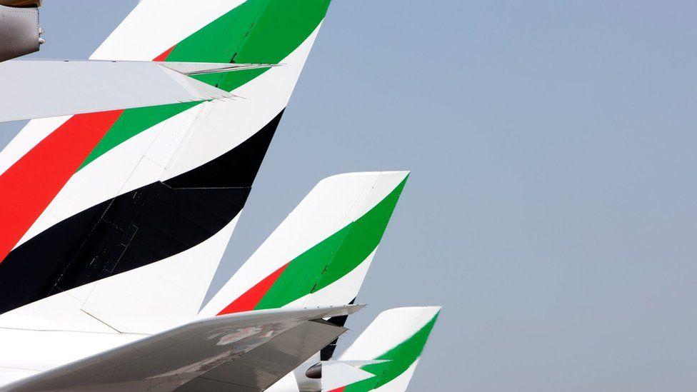 Emirates A380 tailfins