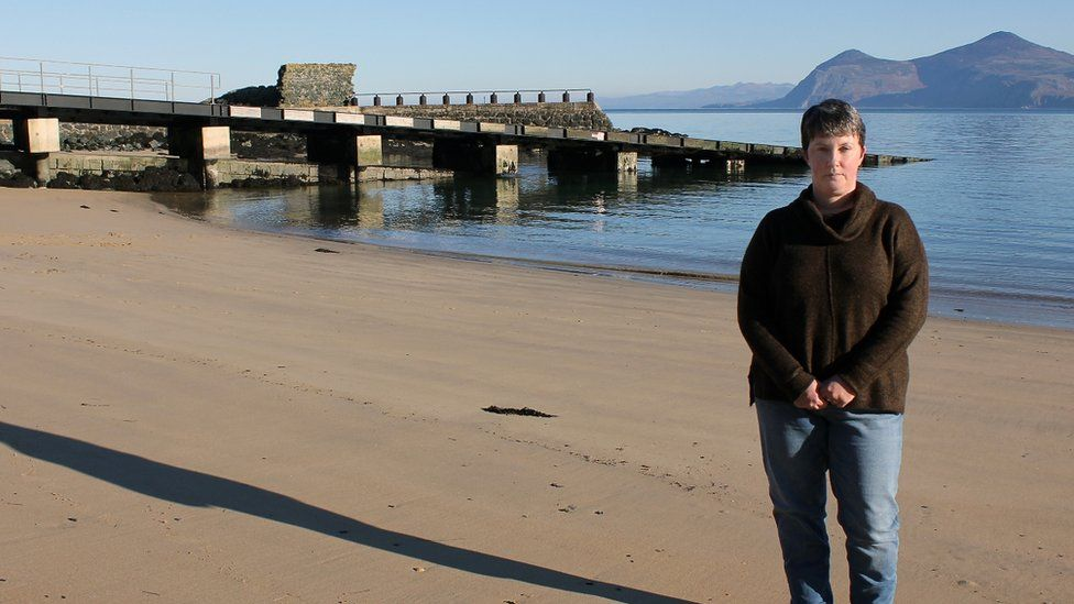 Iona Hughes at the beach at Porthdinllaen where her brother Gareth died