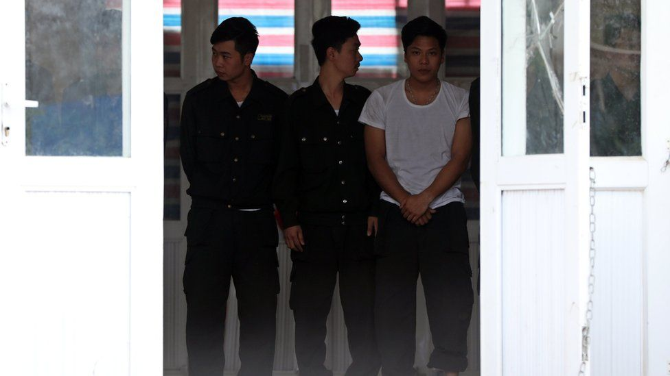 Hostages, who were originally held in a land dispute, wait to be released at the Dong Tam Commune on the outskirts of Hanoi, Vietnam, 22 April 2017