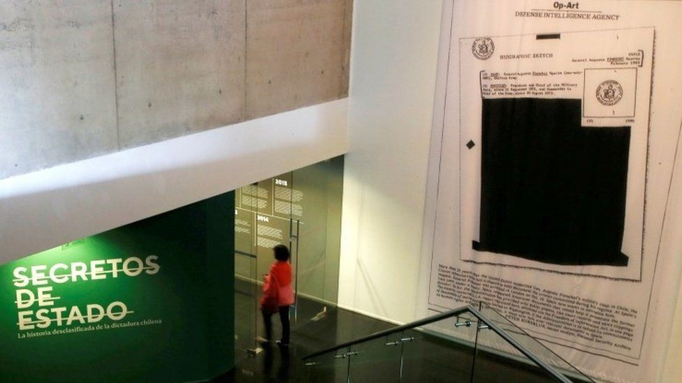 """The entrance to the Museum of Memory and Human Rights in Santiago during an exhibition in October 2017 of declassified CIA documents that show US involvement in General Pinochet""""s coup in 1973."""