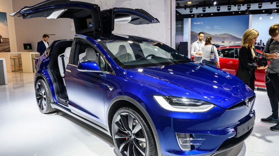 Tesla Model X 90D full electric luxury crossover SUV car on display at Brussels Expo on January 9, 2020 in Brussels