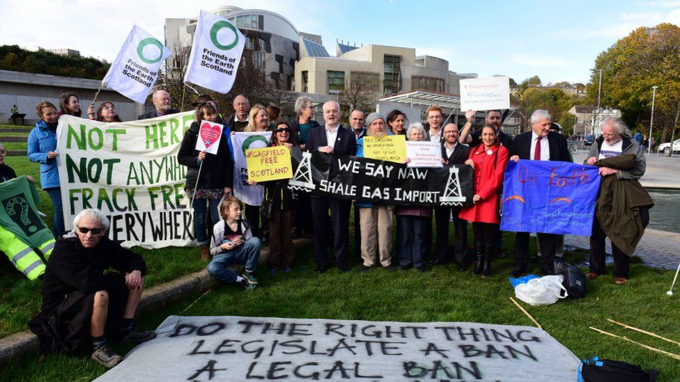 Anti-fracking demonstration outside the Scottish Parliament, as MSPs prepared to debate the issue in October 2017