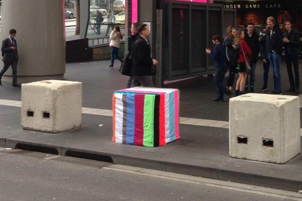 Concrete bollards outside Melbourne's Southern Cross railway station