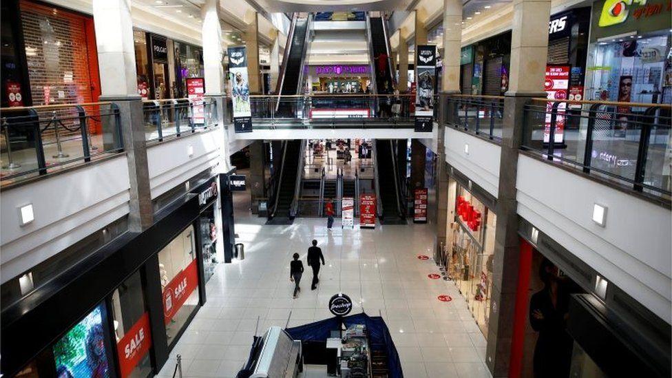 An empty shopping mall in Tel Aviv