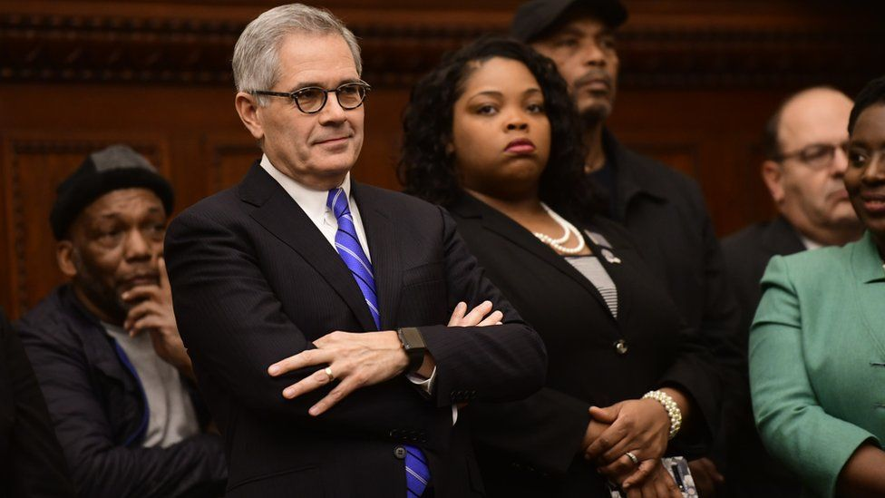 Philadelphia District Attorney Larry Krasner at a press conference in 2019