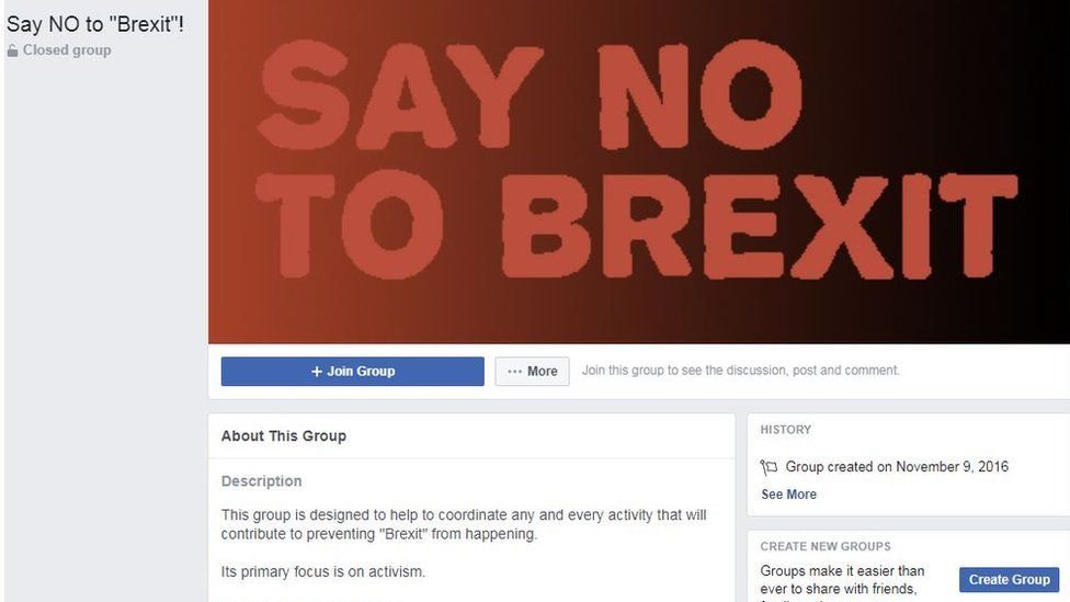 "screenshot of ""Say no to Brexit"" group"