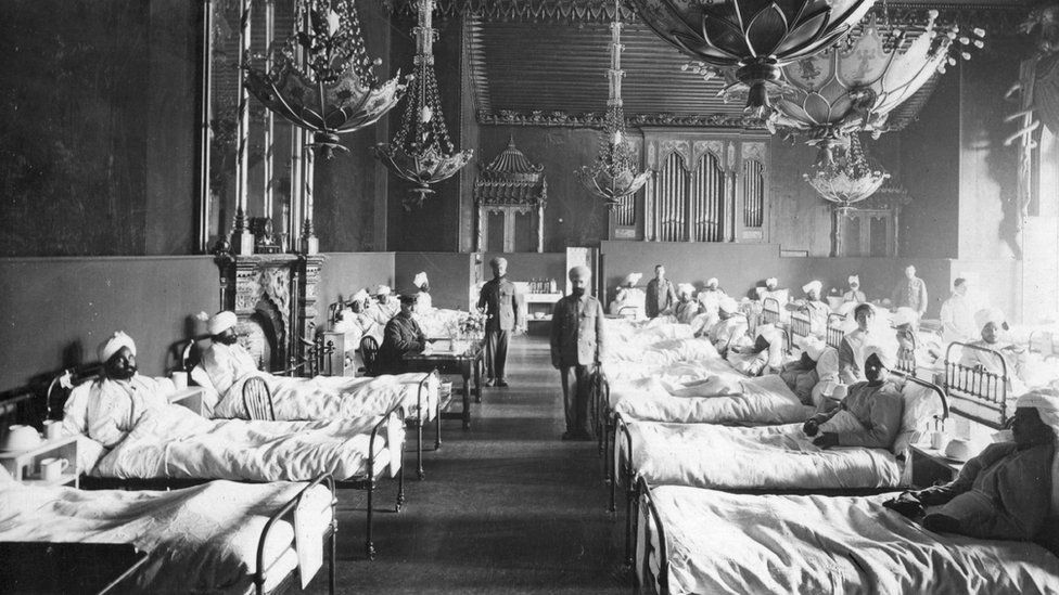 Injured Indian soldiers at Brighton Pavilion in 1915