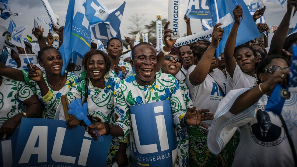 Members of the Gabonese opposition demonstrate in Libreville on July 23, 2016.