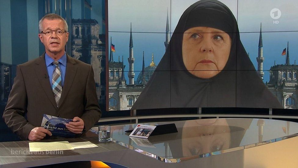 German TV channel shows mocked up image of Angela Merkel in a headscarf