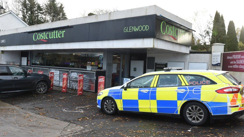 A police car outside the filling station where the attempted theft happened