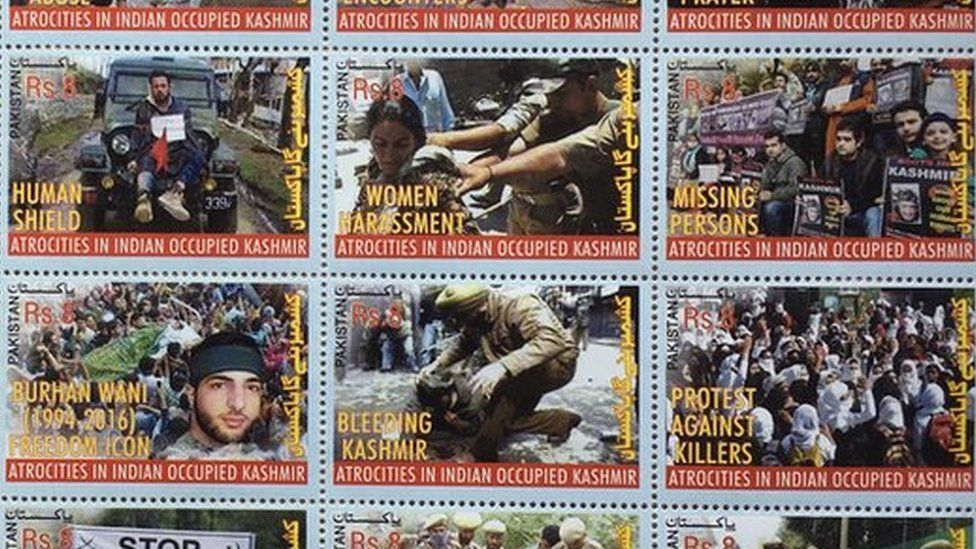 Kashmir commemorative stamps issued by Pakistan Post