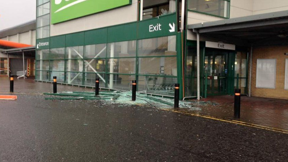 Damage caused to a home furnishings store in Londonderry by high winds